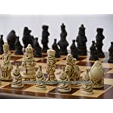 Alice in Wonderland Ornamental Chess Set(creamandbrown,no Board)