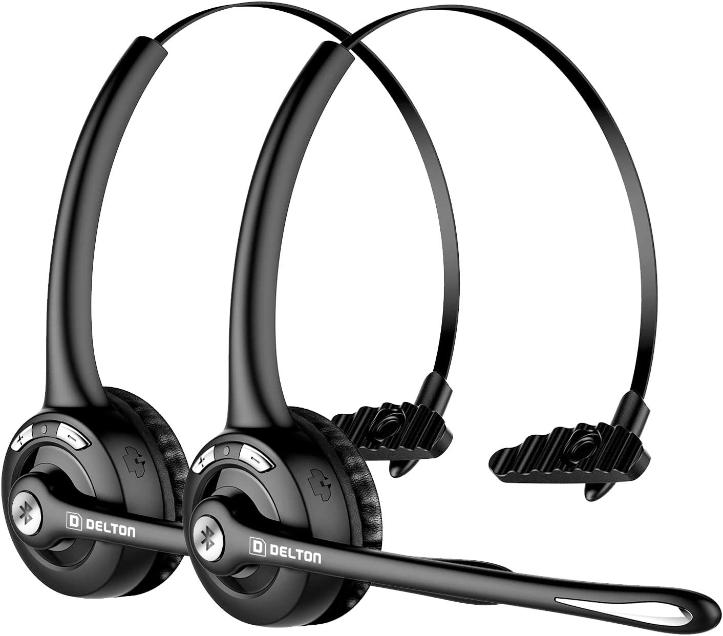 Delton Trucker Bluetooth Headset (2-Pack), Wireless Headphones w/Microphone