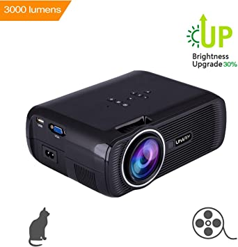 Uhappy U80 LED Mini Proyector de Video, 3000 Lumens Full HD 1080P ...