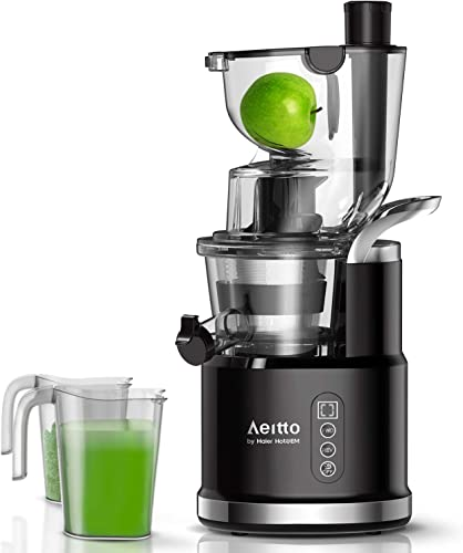 Aeitto Slow Juicer, Slow Masticating Juicer Machine with Big Wide 81mm Chute 900 ml Juice Cup, Cold Press Juicer for Nutrient Fruits and Vegetables, Vertical Juicer Machine BPA Free with Quiet Motor Reverse Function, Easy to Clean