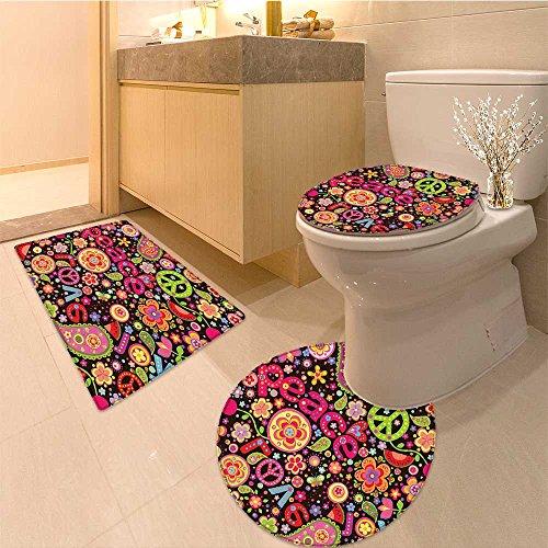 3 Piece Extended bath mat set Colorfu Keys Typography Party Idealism Historic Revolution Long Very Absorbent Bathroom Bath Mat Contour Rug ()