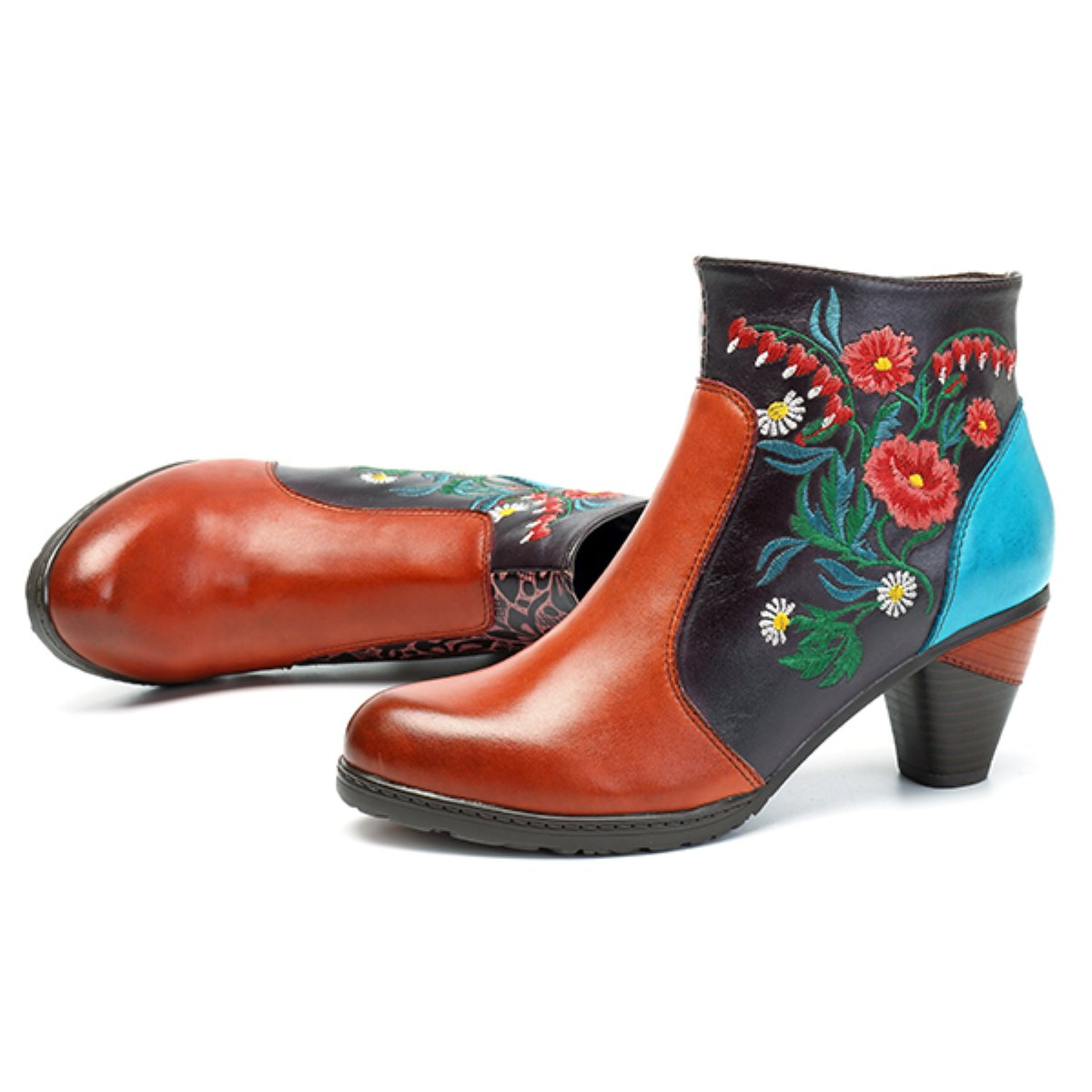 39be536bf91d7 socofy Leather Ankle Boots,Women's Handmade Retro Blossom Embroidery  Pattern Side Zipper Block Heel Shoes Orange Red 7 B(M) US