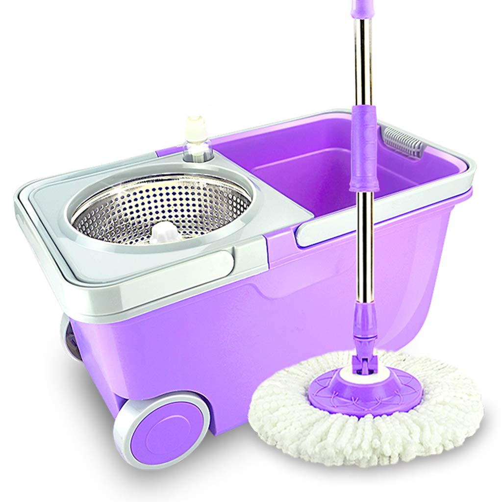 Happy Time Rotate Mop Barrel Home Hand Wash Free Hand Mop Hand Pressure Mopping Bucket Dual Drive Detachable Fiber,Purple