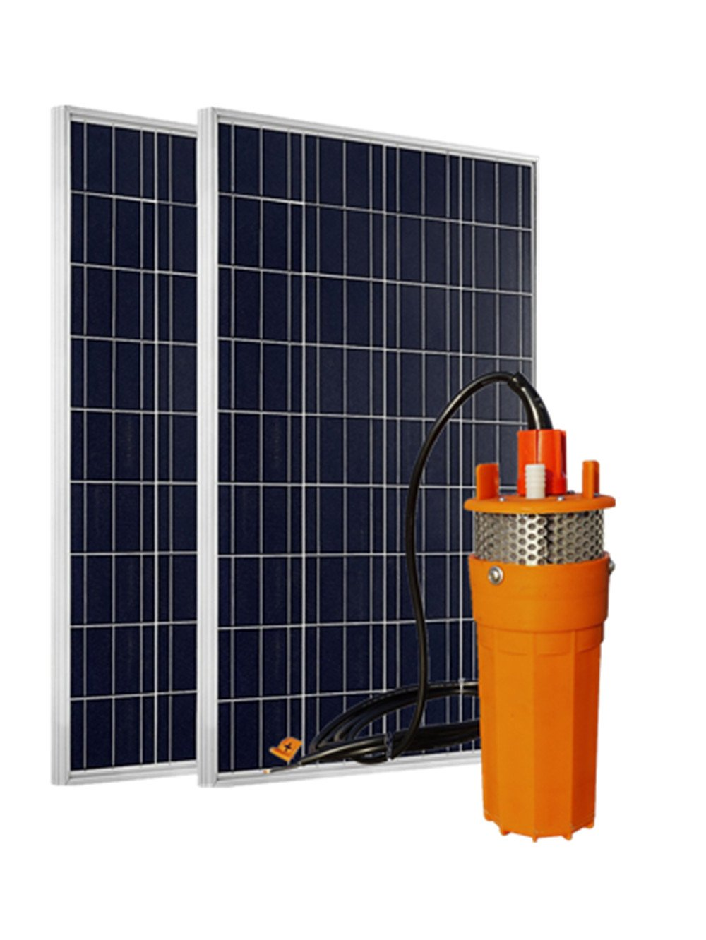 ECO-WORTHY 24 Volts Solar Power Water System: 2pcs 100W Polycrystalline PV Solar Panel + 1pc 24V Stainless Strainer Submersible Solar Water Pump