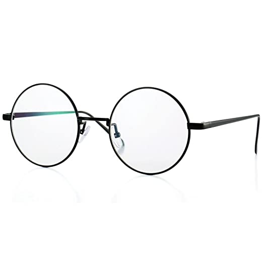 Amazon.com: Retro Round Metal Frame Glasses with Clear Lens Non ...