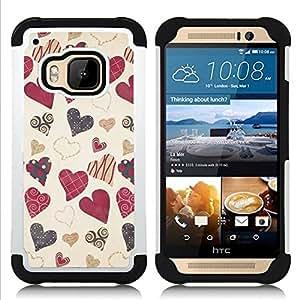 """Pulsar ( Vintage Decoración Vignette regalo"""" ) HTC One M9 /M9s / One Hima híbrida Heavy Duty Impact pesado deber de protección a los choques caso Carcasa de parachoques [Ne"""