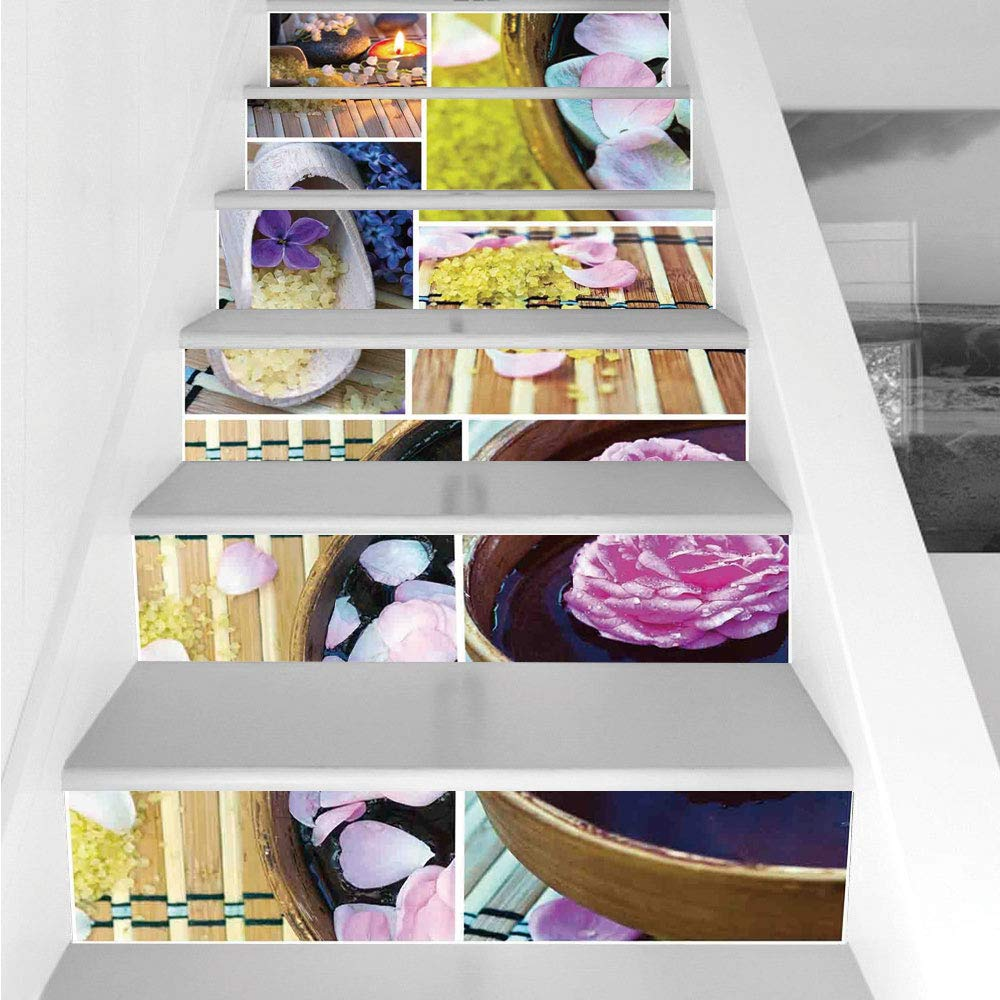 Stair Stickers Wall Stickers,6 PCS Self-Adhesive,Spa,Spa Organic Cosmetics Theme Wooden Bowl Petals Lavender Candle Pebbles Therapy Oil,Purple Brown,Stair Riser Decal for Living Room, Hall, Kids Room