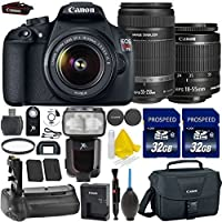 Canon EOS Rebel T5 18MP EF-S Digital SLR Camera Bundle + Canon EF-S 18-55mm IS Lens + Canon 55-250mm IS Lens + 2pc High Speed 32GB Memory Cards + UV Filter + Canon Case + 9pc Accessory Kit Key Pieces Review Image