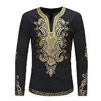 Men Vintage African Tradition Festival Clothing V-Neck Tops Tribal Shirt Printed Long Sleeve Dashiki