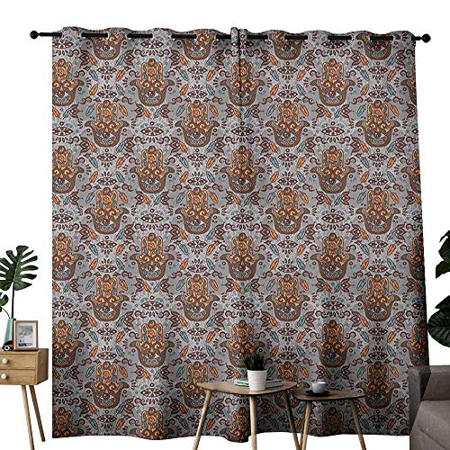(duommhome Evil Eye Exquisite Curtain Hand of Fatima Pattern Hamsa Motifs Bohemian Style Spiritual Tribal Privacy Protection W120 x L84 Orange Brown Slate Blue)