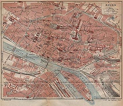 Amazon.com: ROUEN. Vintage town city map plan. Seine-Maritime - 1920 ...
