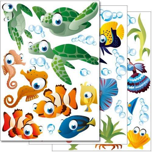 Set de stickers muraux Wandkings 'Le monde sous-marin de l'océan' Kit d'autocollants – plus de 45 motifs autocollants sur 3 planches DIN A4 WS-50001-DINA4