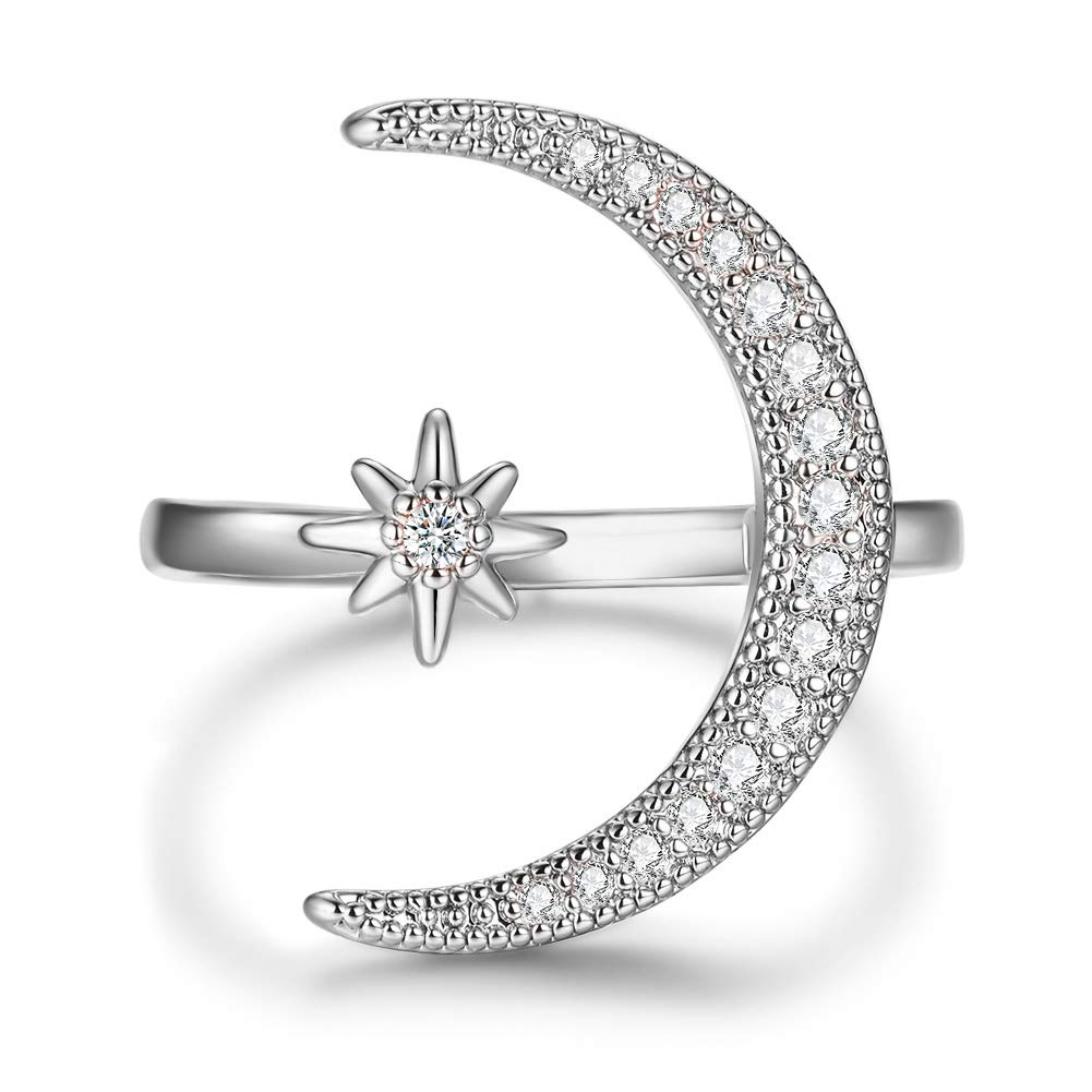 Angol Crescent Moon Star Adjustable Ring, 925 Sterling Silver Crescent Moon Ring Cubic Zirconia Opening Ring Gift for Women with Gift Bag (Silver) by Angol