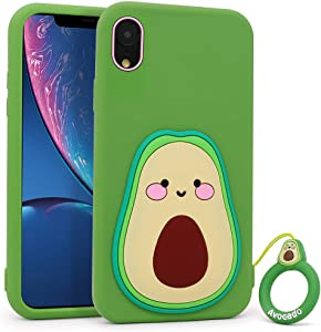 Megantree Cute iPhone XR Case, Funny Fruit Avocado Shaped Soft Silicone 3D Cartoon Full Protection Shockproof Back Cover Cases Skin for Girls Kids Boys Women