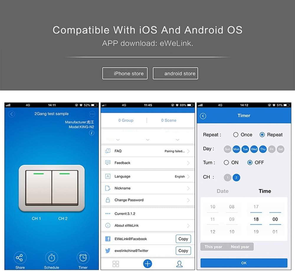 Control de App Interruptor de luz t/áctil Interruptores inal/ámbricos Interruptor de luz WiFi Smart Wall Compatible con Alexa y Google Home Assistant Galapara Interruptor Inteligente