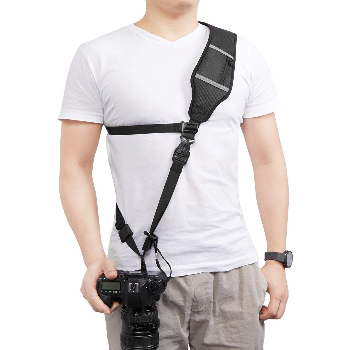 Powerextra Camera Shoulder Neck Strap with Quick Release and Safety Tether Compatible with Nikon Sony Olympus Pentax, fujifilm, Panasonic Canon SLR DSLR