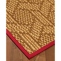 NaturalAreaRugs Seattle Sisal Area Rug, Handmade in USA, 100 Percent Natural Sisal, Non-Slip Latex Backing, Durable, 2 6es by 8 Red Border