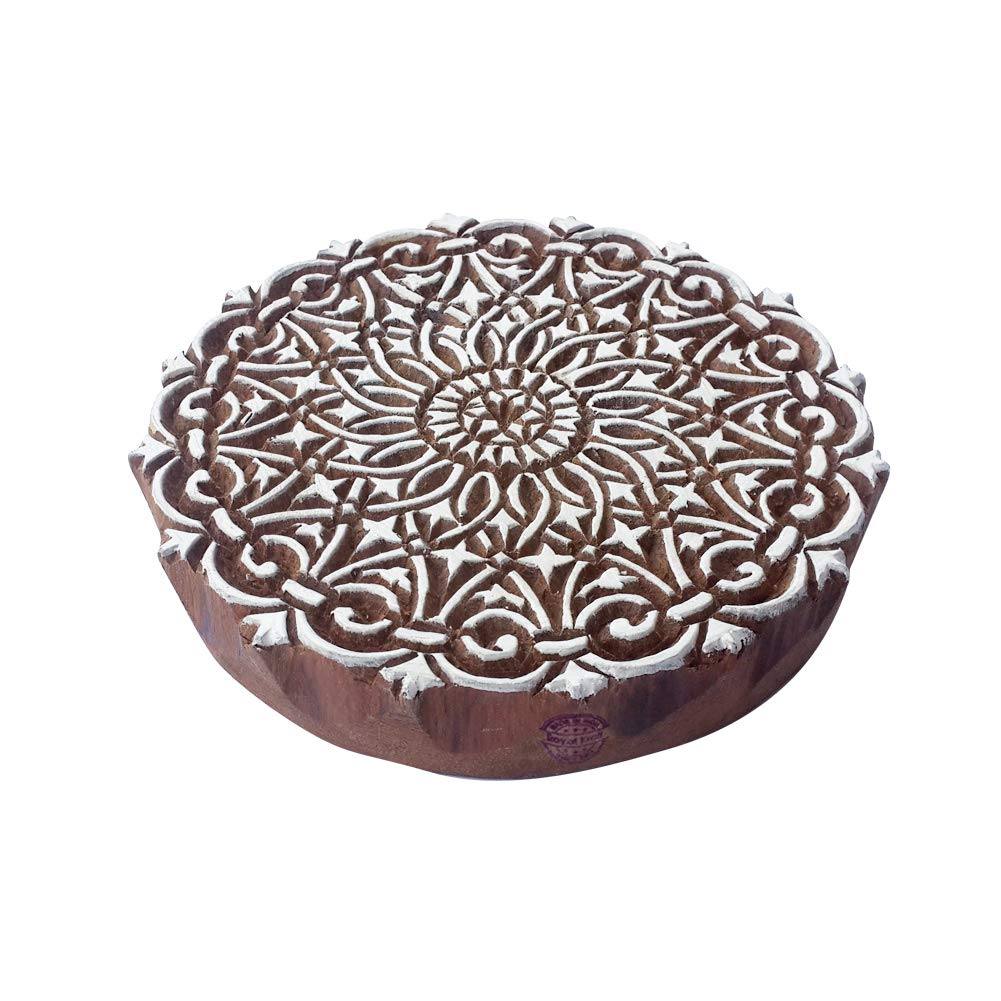 8 Inch Crafty Large Wooden Stamp Unique Round Pattern Big Printing Block