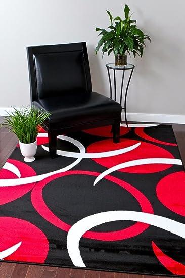 Amazon Com Red Black Area Rugs Carpet Modern