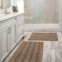 Extra Thick Chenille Bath Mats Set Non Slip Striped Bath Rugs Bathroom Rugs Mats Soft and Water Absorbent Shag Indoor…