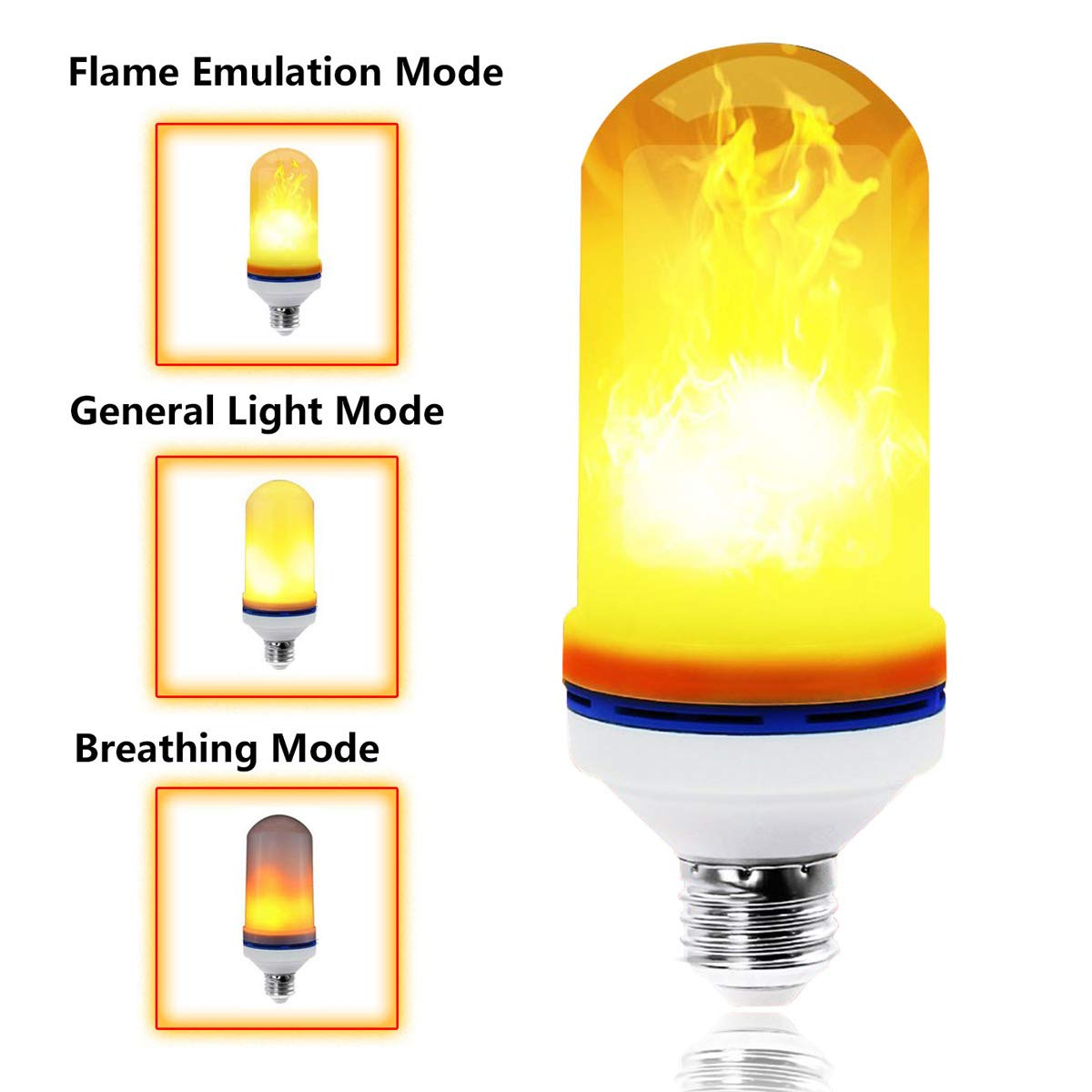 LED Flame Bulb E26/E27 LED Fire Flicker Flame Effect Light Bulb with 3 Model Decorative Light for Antique Lantern Bar Hotel Party Home Decoration