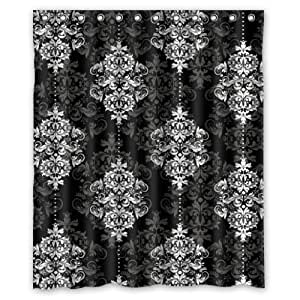 60(W)x72(H)-Inch Black and white traditional classical decorative pattern New Waterproof Polyester Curtain (Shower Rings Included)