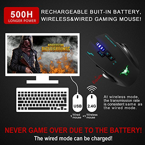 Wireless Mouse-Combatwing Gaming Mouse with Professional Ergonomic and Built-in Battery,Rechargeable Optical Gaming Mice with USB Nano Receiver for PC Laptop Computer Mac(above 10.4),4 Adjustable DPI by Combatwing (Image #1)