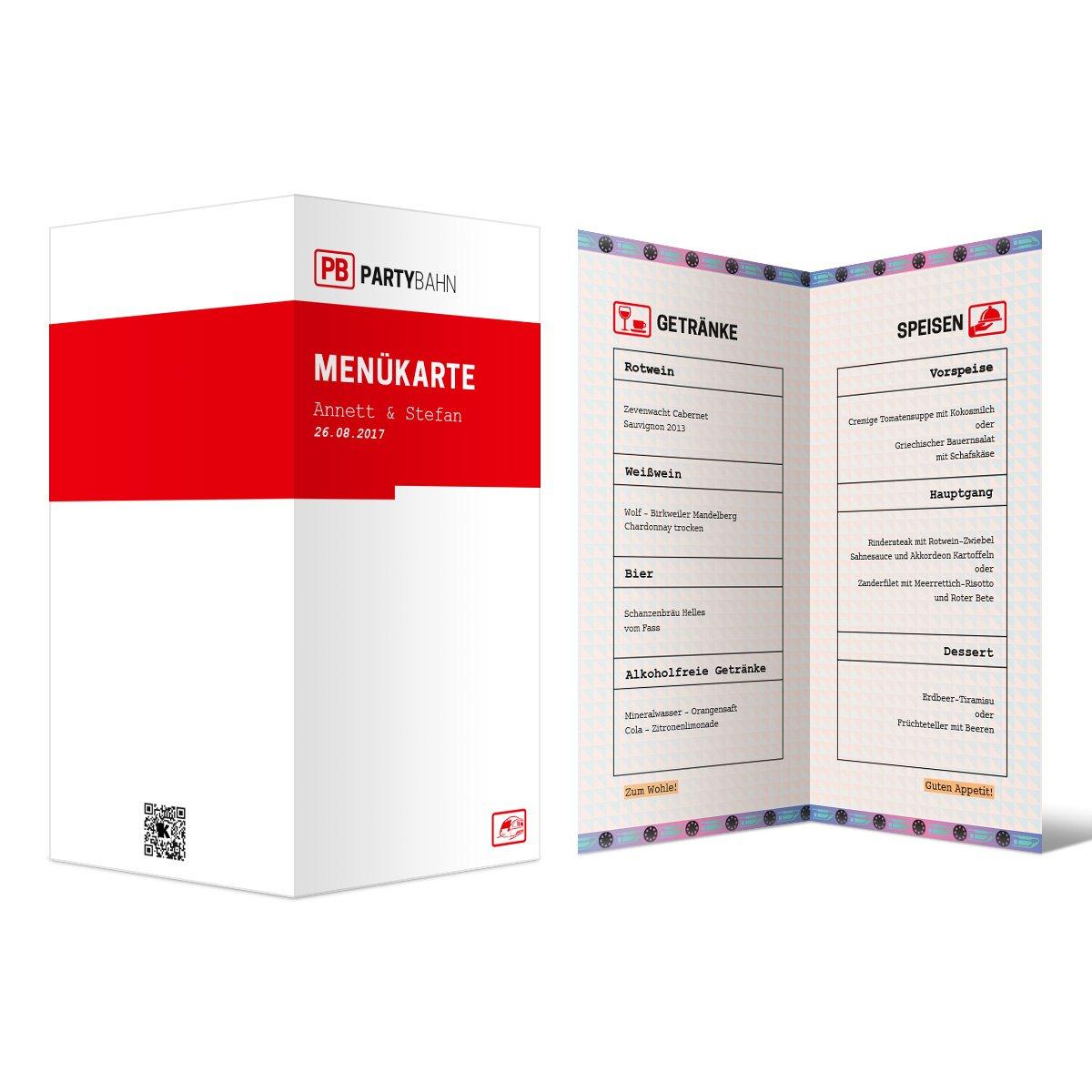 Menükarten Hochzeit (60 Stück) - Bahnkarte Motiv - Speisekarte Getränkekarte Menü B06XHVKZP6 | Deutschland  | Sale Düsseldorf  | Attraktiv Und Langlebig