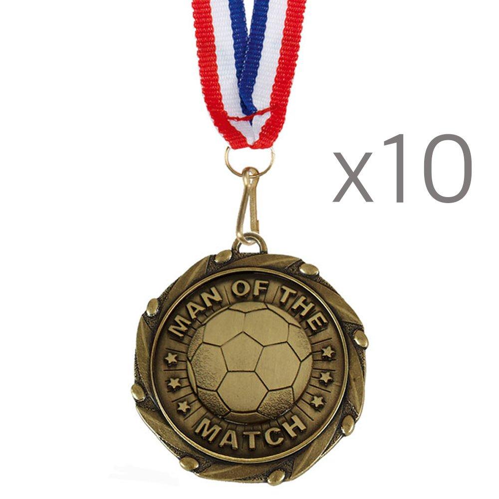Medallas de oro para partidos de fútbol con el mensaje en inglés 'Man of the Match', con cintas de color rojo, blanco y azul, 45mm, paquete de 10, (13/4?) TPM Trading