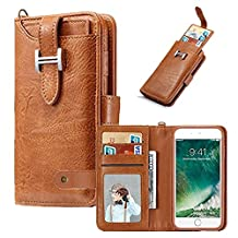 Wallet Case for iPhone 8,Hulorry 360 Degree Protection Case with Card Slots Money Pocket Cover Zipper Wallet Purse Case Drop Resistant Smart Wallet Credit Magnetic Sleeve for iPhone 7/iPhone 8