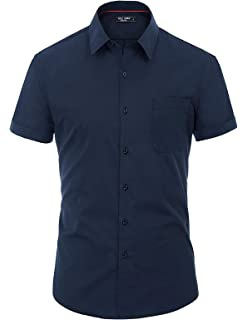 f5acd1932 PAUL JONES Men's Solid Short Sleeves Dress Shirts Casual Button Down Shirt
