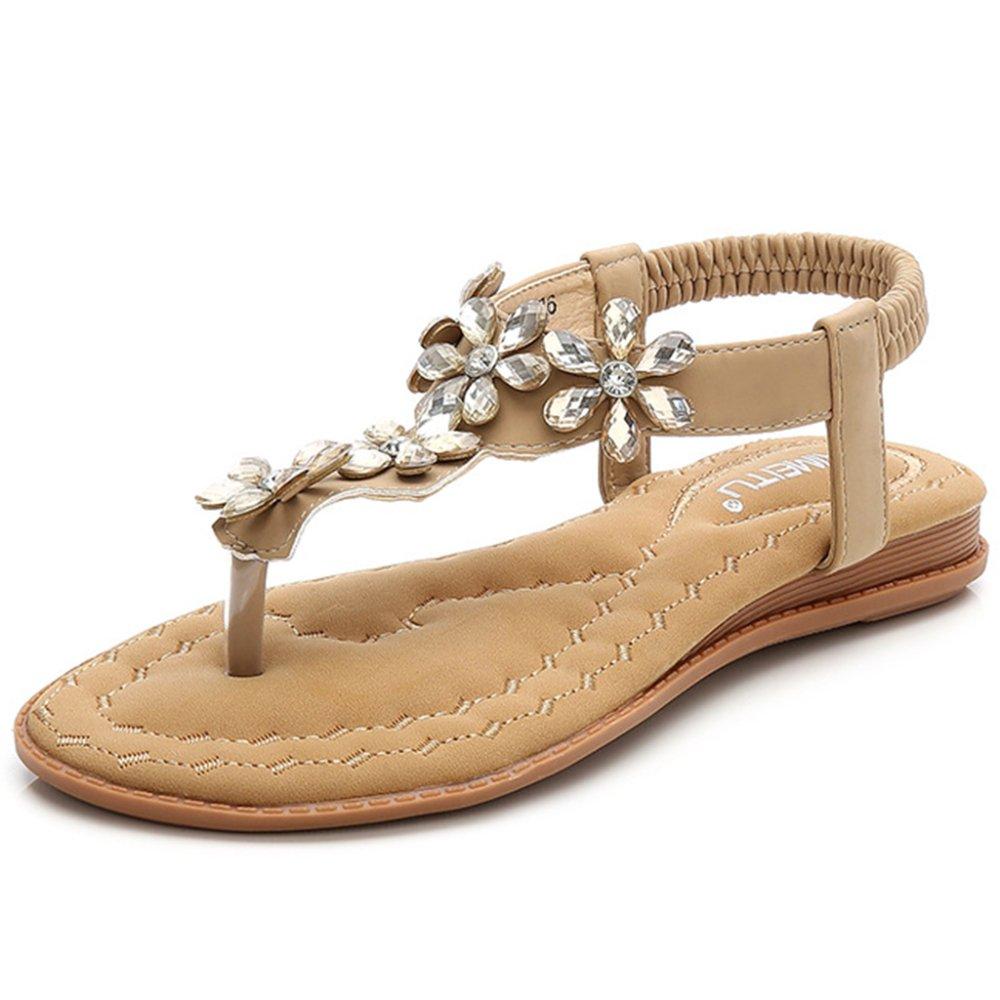 LDZY Frauen Strass Flowered Sandalen Sommer Clip Toe T-Strap Knöchelriemen Flip Flop Böhmischen Stil Flache Strandschuhe  EU38/UK5|Apricot