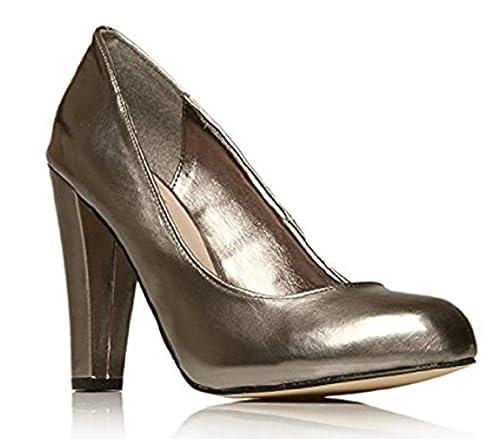 32935a70088 MISS KURT GEIGER  quot CAROLINE quot  Gunmetal Pewter Grey Block Heel Court  Shoes (UK