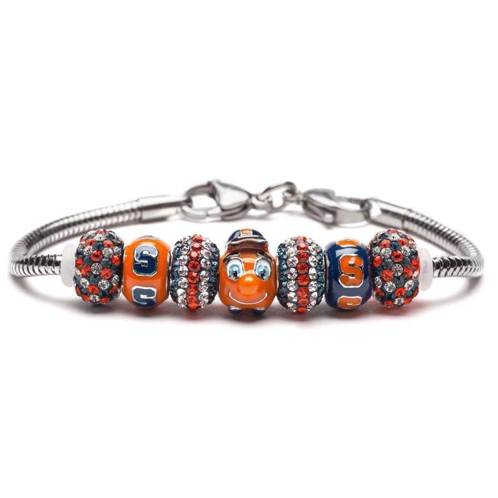 Syracuse University Bracelet   SU Oranges Bracelet - 1 Otto Bead, 2 S Beads and 4 Crystal Charms   Officially Licensed Syracuse University Jewelry   SU Jewelry   Syracuse Charms   Stainless Steel