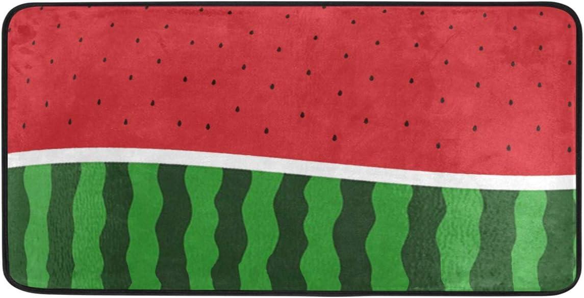 BEETTY Kitchen Rug Bathroom Mats Welcome Door Mats Funny Watermelon Pattern 39 x20 Non-Slip Washable