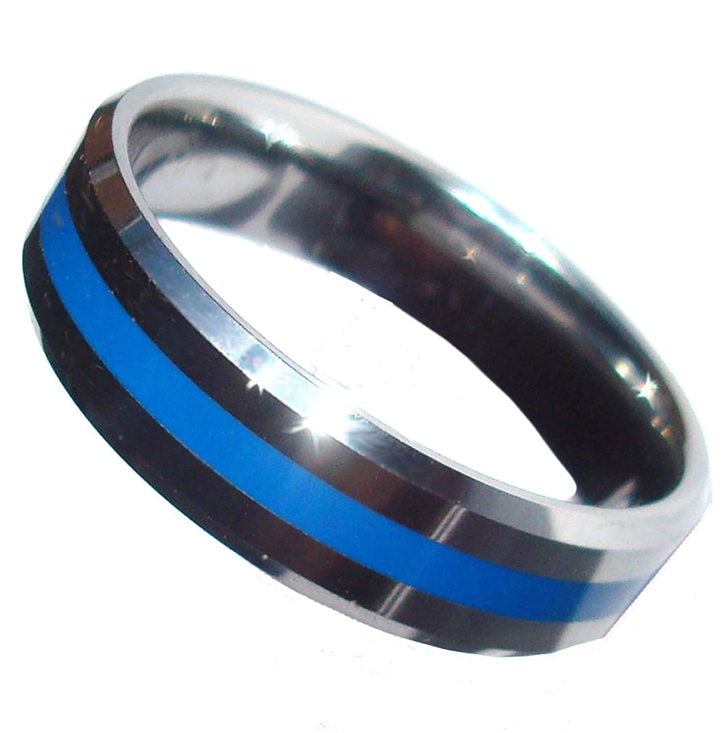 Amazon: Tungsten Brotherhood® Band Blue Line Ring: Thin Blue Line Ring:  Jewelry
