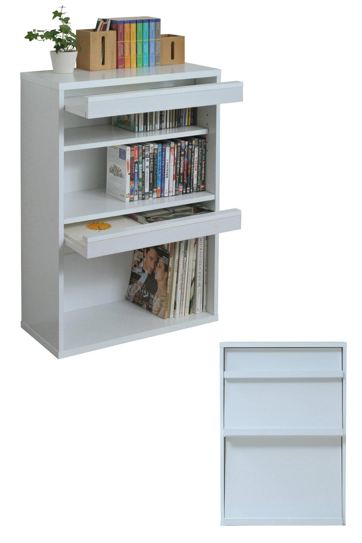 JKプラン 6BOX ディスプレイラック cd dvd や 雑誌 が ディスプレイ 可能な ラック フラップ本棚 フラップ書棚 雑誌 マガジン 本 ラック 棚 幅 60 cm ホワイト TSFR0045WH B07BKT3GLJ  ホワイト