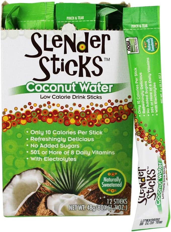 NOW Foods, Slender Sticks, Coconut Water, with Electrolytes, 10 Calorie Drink Sticks, Refreshingly Delicious, No Added Sugars, 12 Packets