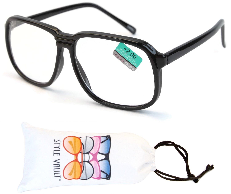 E3042-VP Style Vault Plastic Reading Glasses (B2454F +2.00 Black, UV400)