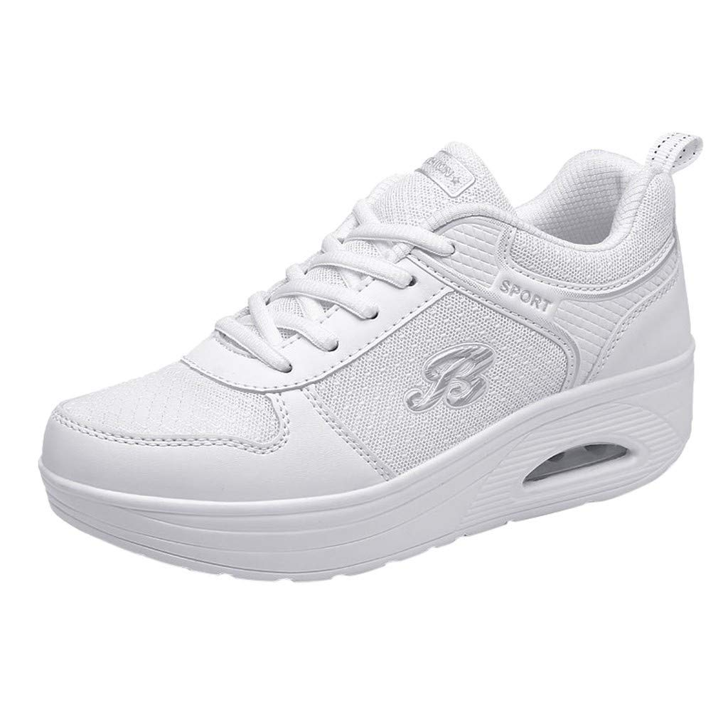 HENWERD Platform Sports Shoes for Womens Casual Walking Tennis Lace-up Wedges Sneakers (White,5.5 US)