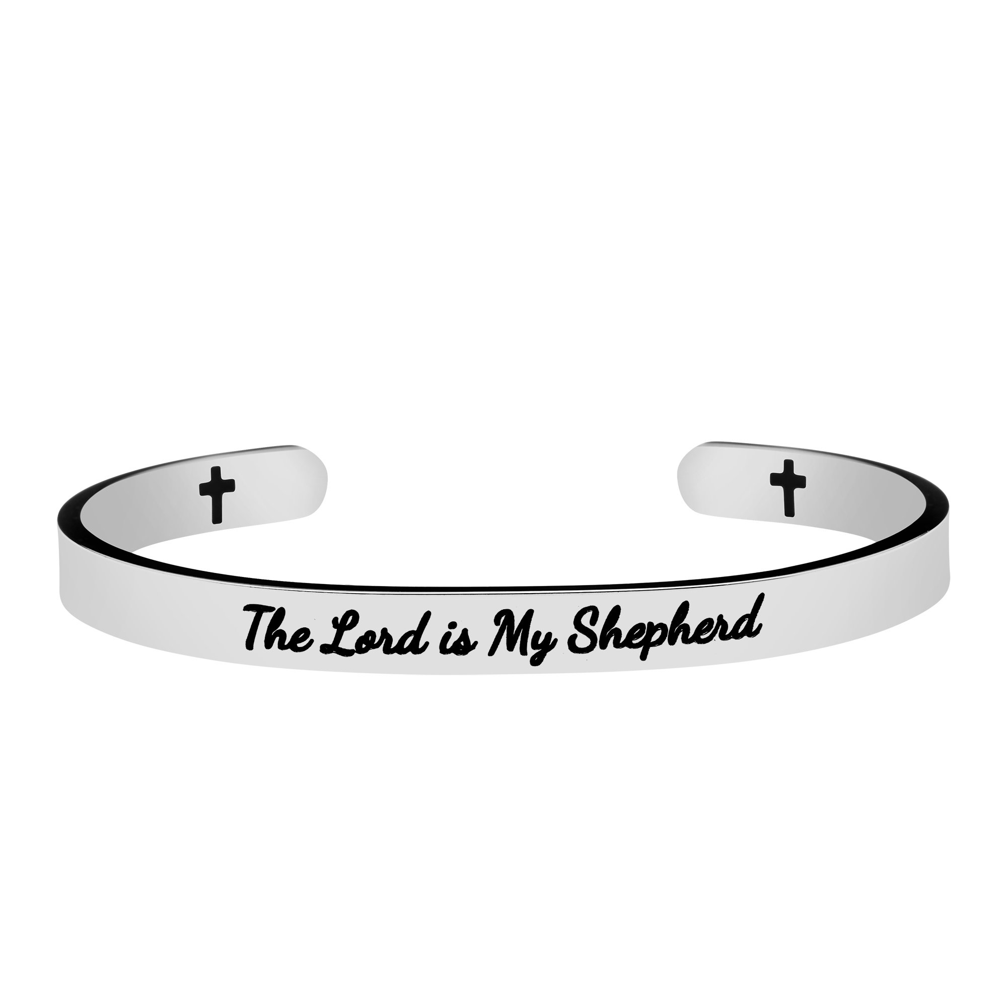 Joycuff Scripture Jewelry Gift for Her Christian Bangle Bible Verse Engraved Message Cuff Bracelet The Lord is My Shepherd