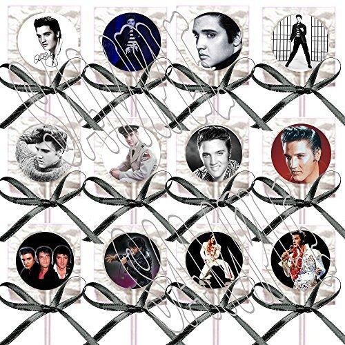 Elvis Presley Party Favors Supplies Decorations Lollipops w/ Black Ribbon Bows Party Favors King Rock & Roll (Elvis Gift Bag)