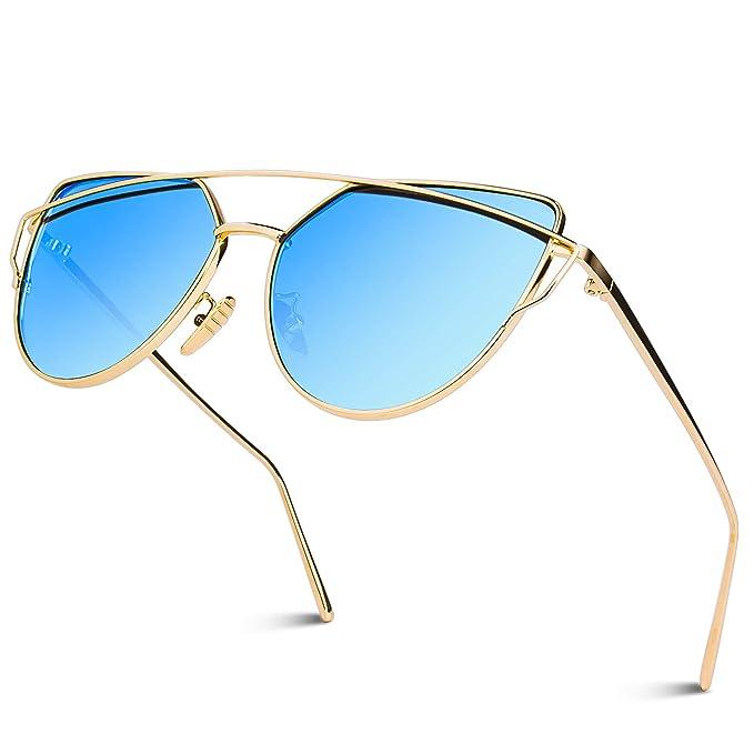 GQUEEN Ojos De Gato Espejo Gafas de Sol MS4 para Mujer