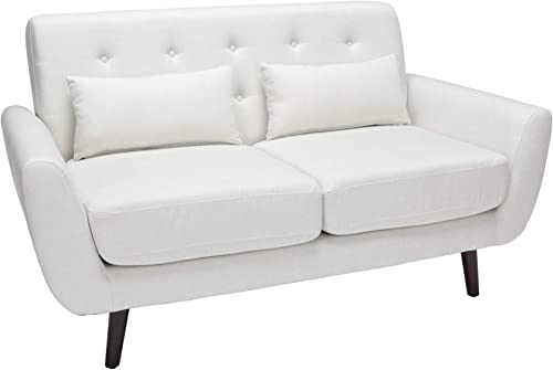 OFM 161 Collection Mid Century Modern Tufted Fabric Loveseat Sofa