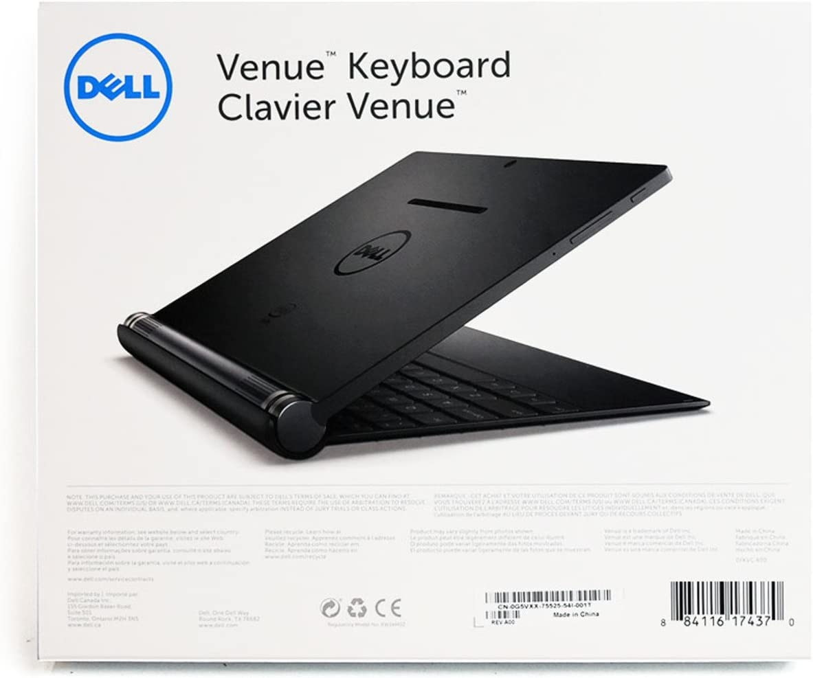 New G5VXX Dell Venue 10 7000-Series 10-Inch Tablet Bluetooth BT Pairing Keyboard US-International Clavier Backlit w/Touchpad 7040 Device Docking Connectors T13G001 Android Wireless Apps Shortcut
