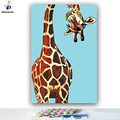 Cartoon Simple Coloring Children's Graffiti Homework Learning Contact Getting Started Happy Toy Giraffe Ocean Summer DIY Oil Painting by Numbers Art Paint by Number on Canvas: Arts, Crafts & Sewing