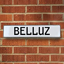 Vintage parts USA VPAYD718 Belluz White Stamped Aluminum Street Sign Mancave Wall Art