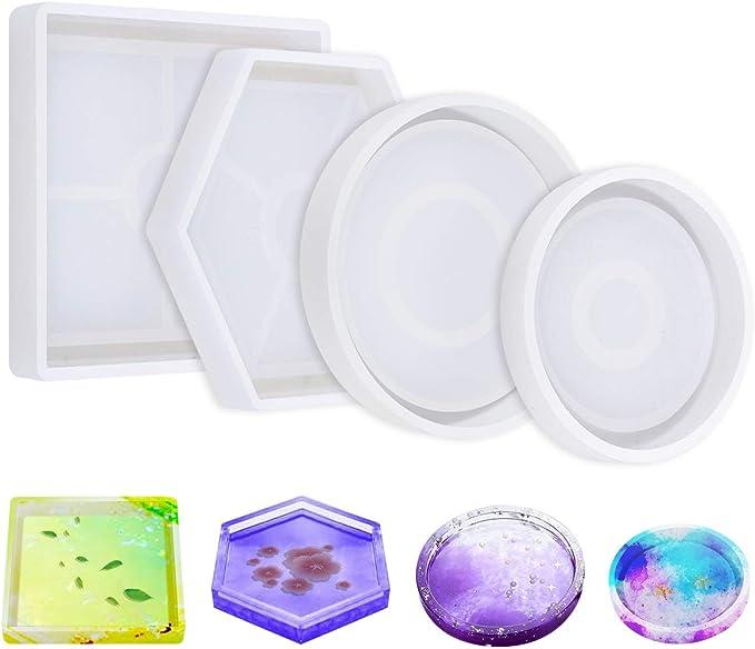 manualidades molde de fundici/ón de epoxi de cristal molde para hacer joyas con lentejuelas de flores secas para decoraci/ón Juego de moldes de resina de 38 piezas posavasos regalo