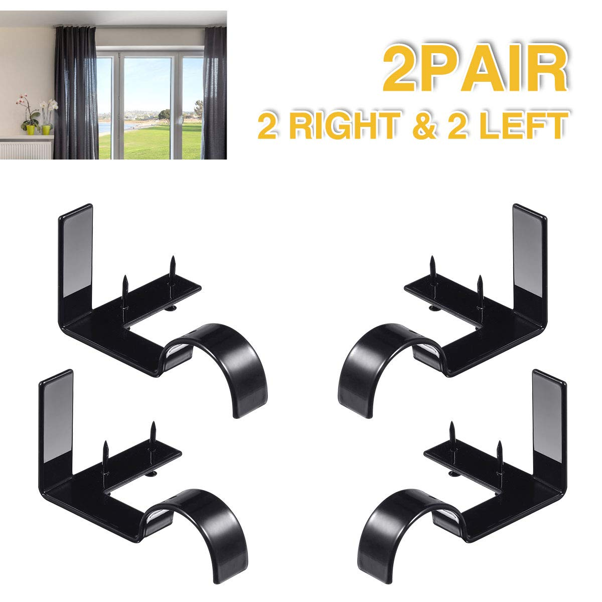 Single Curtain Rod Brackets - Black, 2 pair 4 PCS Curtain Rod Holder Set, Decoration for supporting Single Rod Curtain in Bedroom & Home, tap in Window Frame (Include Fixed Screw free from Drilling)