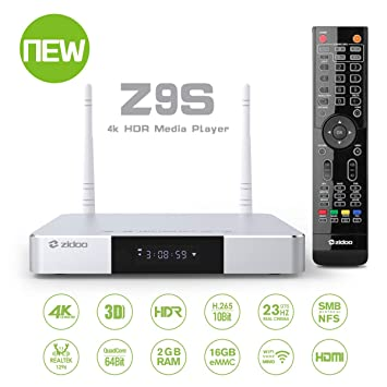 Zidoo Android 7 1 TV Box Z9S Realtek 1296 4 core 64-bit A53 Processor 4K  Player 2GB/16GB/HDR Dual-WiFi 2 4G/5 0G,3D Ultra HD H 265 USB 3 0 BT 4 0